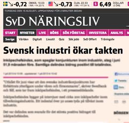 Svensk industri, SvD, Stig Björne Tillväxt